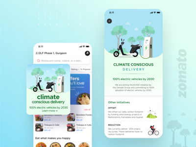 Climate conscious delivery carbon footprint electric vehicle world environment day ui ux illustration mobile app zomato ui design food design