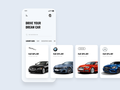 Self-Driving Car Rental App mobile application design ui design executive car suv luxury car car rental bmw jaguar mercedes benz audi drive dream car rental self-driving car ui ux design