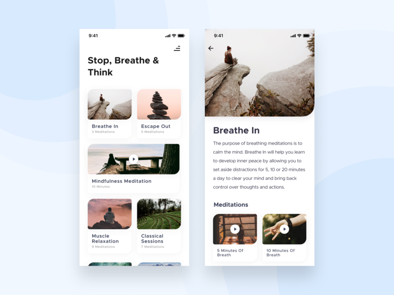 Meditation App 🧘🏻♀️ breathing relaxation mindfulness beathe think meditation mobile application clean interface ux design ui  ux figma card design app application ui design