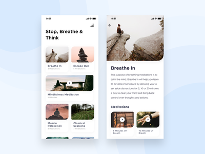 Meditation App 🧘🏻‍♀️ breathing relaxation mindfulness beathe think meditation mobile application clean interface ux design ui  ux figma card design app application ui design