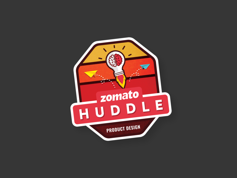 Zomato Huddle Laptop Sticker concept logo new idea think out of the box idea product design huddle zomato laptop sticker illustration sticker