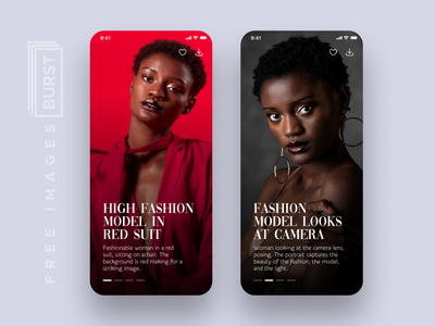 Free stock photos app - Burst red suit model fashion app stunning stock images collections commercial use download free top free pics shopify burst freebie design ui uiux