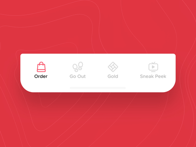 Zomato V14 - Tab Bar Interaction Concept sneak peek gold navbar navigation bar bottom bar animation icon aftereffects micro interaction figma illustration ui ux ux design mobile app ui design food design zomato