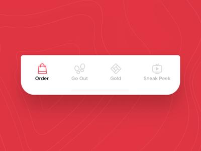Zomato V14 - Tab Bar Interaction Concept sneak peek gold navbar navigation bar bottom bar animation icon aftereffects micro interaction figma illustration ui ux ux design mobile app ui design food design zomato