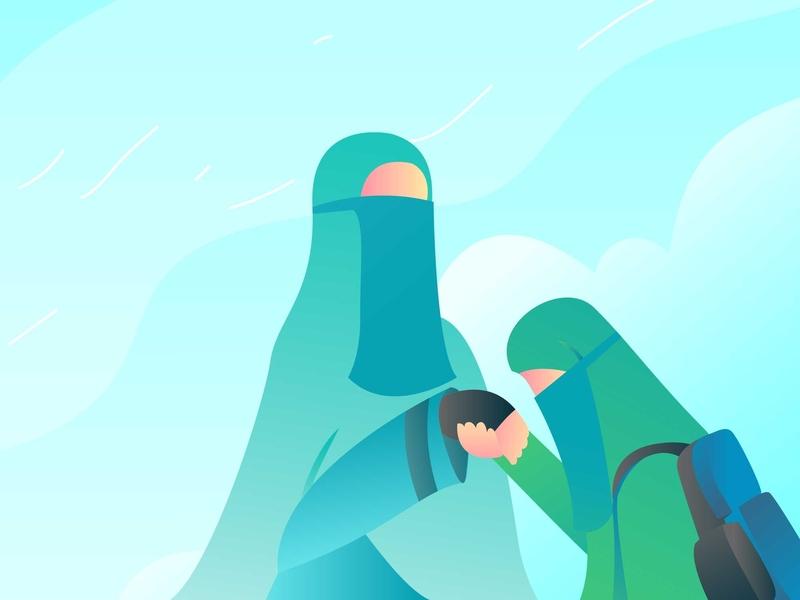 Muslimah Teacher and Student object graphic branding site mobile minimal illustrator creative idea flat ui design vector illustration
