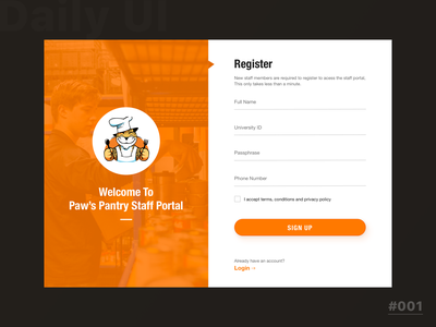 Sign up form for University Food Pantry - Staff Portal sketch uxdesign uidesign
