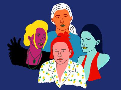 Girls lena dunham female girl power feminism women girl editorial illustration poster humor fun pop illustration tvshow hbo girls