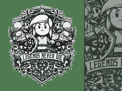 Legends Never Die cartoon typo typography illustration line art videogame gamer game design t-shirt vector tee link