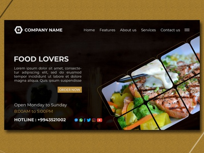 Restaurant Food Modern Landing Page Website Design Template