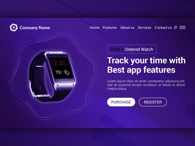 Creative Modern Smart Watch Landing Page Website Design Template