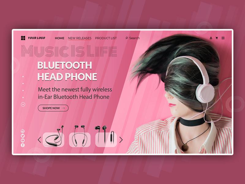 Headphones Marketing Modern Landing Page Web Banner modern web banner creative landing page