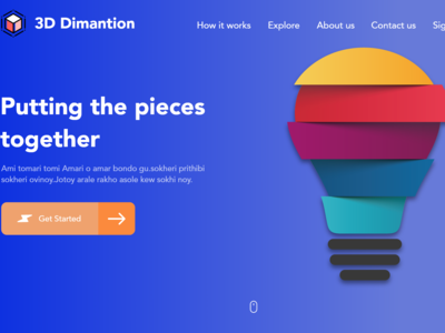 3d Dimention Web Page Design Adobe Xd