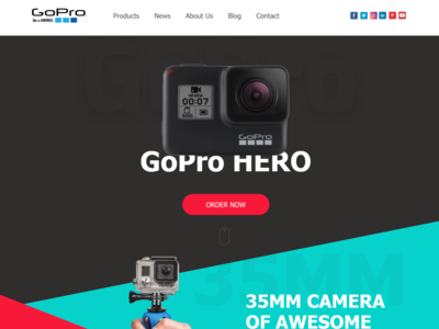 Gopro Hero Camera Webpage Design Adobe Xd
