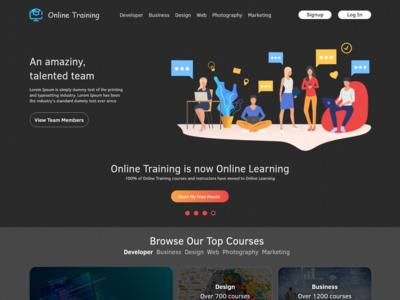 Online Training Landing Page Design Adobe Xd