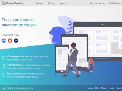 Online Banking Website Landing Page Adobe Xd