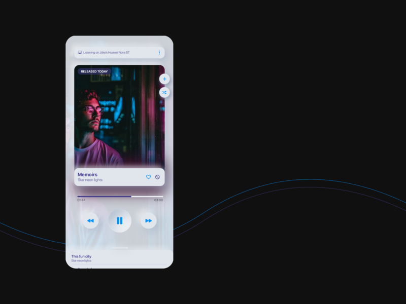 Music Player huawei neon light neon colors buttons blue purple tech music player ui music player music neomorphism neomorphic mobile app interaction design app design uidesign cyber punk