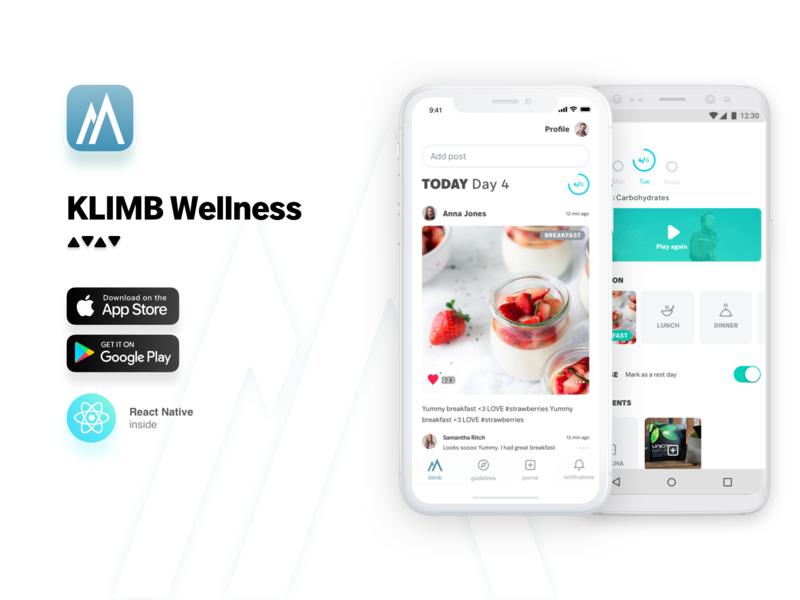 Klimb typography android ios react health fit wellness minimal icon flat design ux ui mobile app