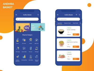 Andhra Basket Grocery App illustration icons groceryapp creativedesign ux ui fruit ios groceries appdesign onlinegrocery fruits and vegetables booking