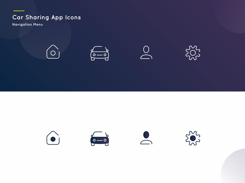 Icons Design ui car app lineicons vector carsharingappicons icons illustration
