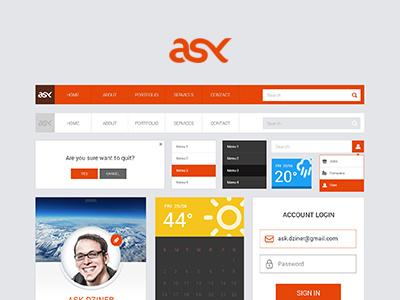 ASK FREE UI Kit ui kits photoshop psd free download freebies orange flat ui pack