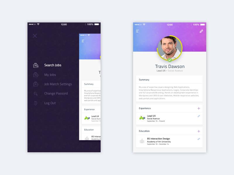 Navigation and Profile profile recruitment mobile app navigation jobs job ios creative app creative askdziner app