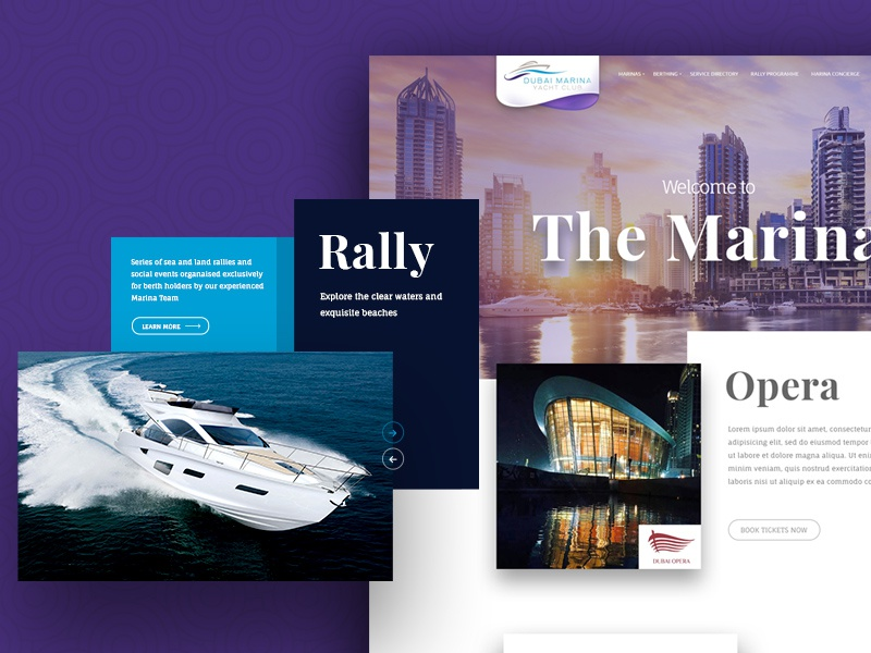 Yacht Club Landing Page travel cruises boat web responsive resort luxury yacht marine landing page interface flat