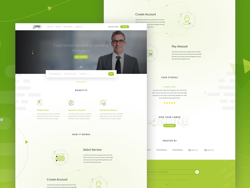Landing Page for Online Document Verification ux ui askdziner web app lawyer law website layout landing page theme