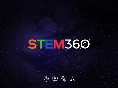 STEM360 icon stars training education space planet logo cosmos 2d