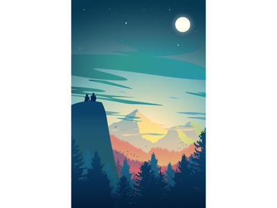 Two people in awe of nature lights dusk silhoutte night moonlight moon mountain vector trees nature landscape illustration color