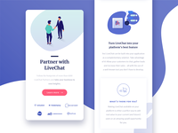 Partner with LiveChat landing page – mobile version