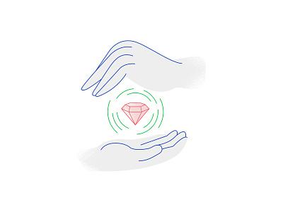 Hands and diamonds ui design behance wacom graphic colors illustrator illustration photoshop
