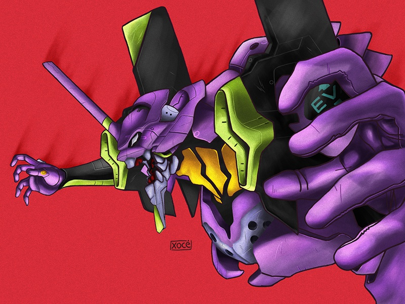 Evangelion Proyect red action green yellow instagram eva evangelion purple 2d characters anime colors animation wacom character graphic gradient behance photoshop illustration