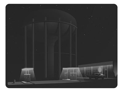 Gas Station gas station car nostalgia vector duotone vintage illustration noire noir