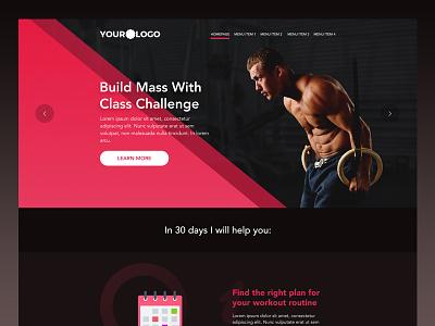 Fitness Landing Page flat fitness ux ui dark simple landing page website