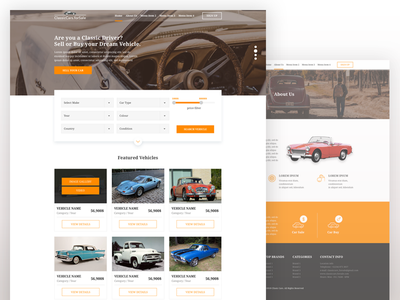 Classic Cars for Sale Website find perfect car sell your car about us landing page homepage classic cars website ux ui
