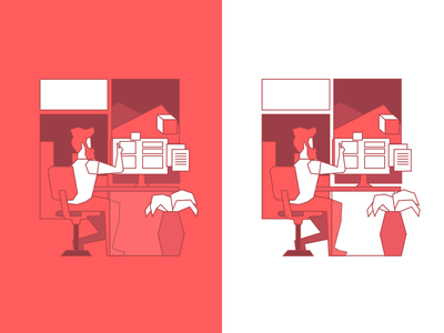 Developer with an idea office character illustration