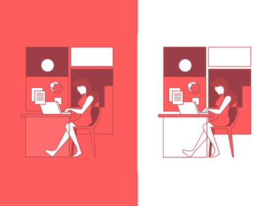 Working from home illustration character