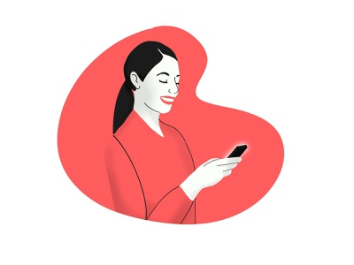 Woman looking phone character illustration