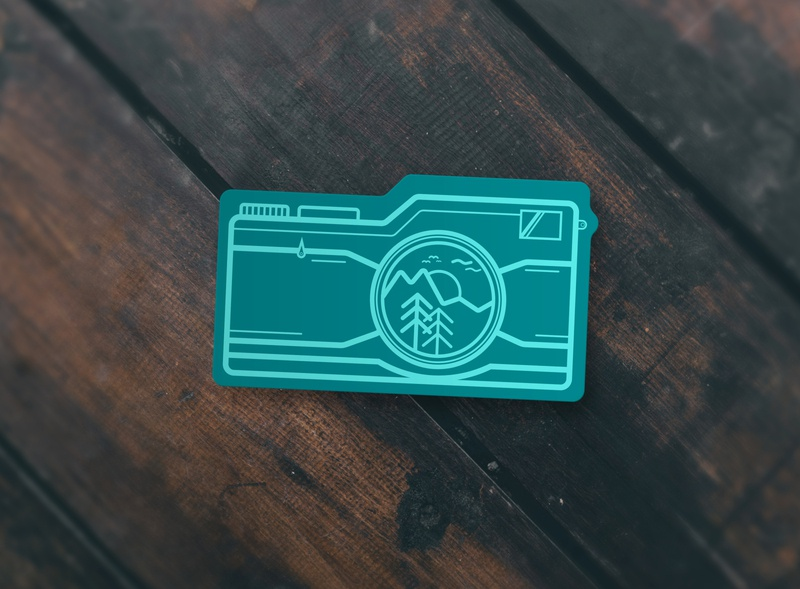 Monochromatic Camera Sticker single color simple sticker design hiking monochromatic outdoors sticker art branding