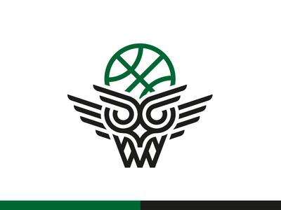 Green Owls (Basketball) Logo identity design brand design owl logo basketball logo minimal icon modern logo logomark logo branding line art