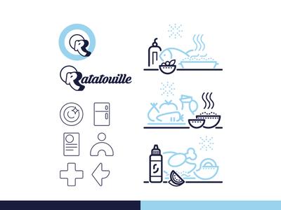 Rattatouille.app icon set iconography identity branding branding design identity identity design typography monogram logomark modern logo app ux ui minimal branding line art