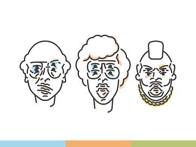 Heroes Icons illustrator identity napoleon dynamite mr. t larry david avatars avatar linework icon set icon design iconography icon vector illustration line art