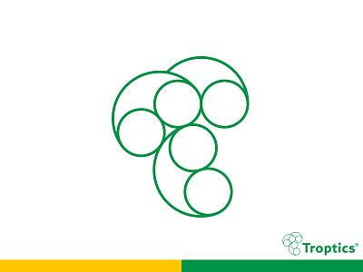 Troptics logo/ monogram minimal optical lettering logo design typography monogram modern logo branding logomark line art logo