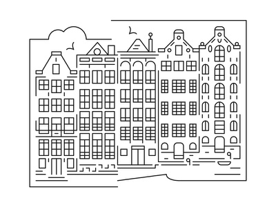 Cityscape skyline - Amsterdam amsterdam minimal vector illustrator illustration line art cityscape city illustration skyline