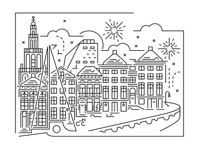 Cityscape skyline - Groningen illustrator xmas christmas city illustration cityscape skyline illustration minimal vector line art
