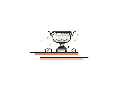RG illustration tennis roland garros vector flat trophy line art