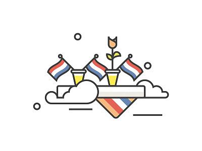 Prins Pils 2019 icon artwork icon kingsday2019 kingsday nederland tulips the netherlands prins pils holland dutch beer koningsdag illustration illustrator vector