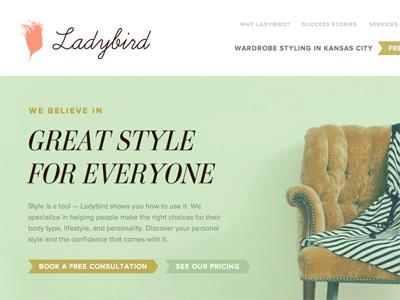 Ladybird Homepage proxima nova ambroise typekit