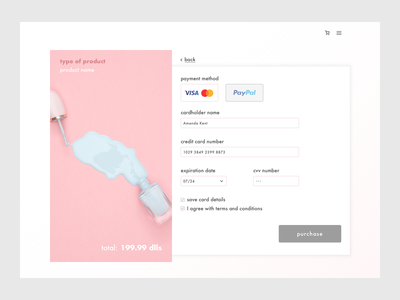 Daily UI / Check out desktop pastelcolor minimalist minimalism design ui checkout day2 dailyui
