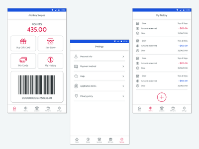 Gift card apps materialdesign aplication ui ux android ios app design
